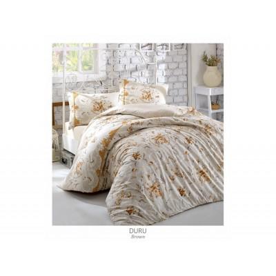 Комплект постельный полуторный Arya ранфорс Duru коричневый