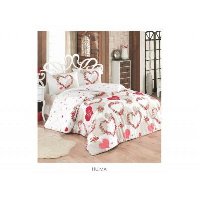 Комплект постельный полуторный Arya ранфорс Huima красный