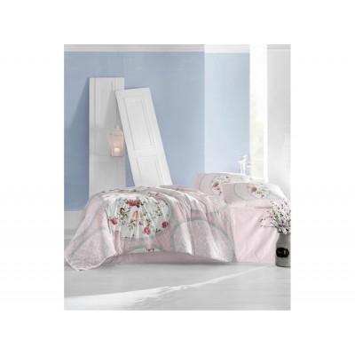 Комплект постельный полуторный Arya ранфорс Perlita розовый