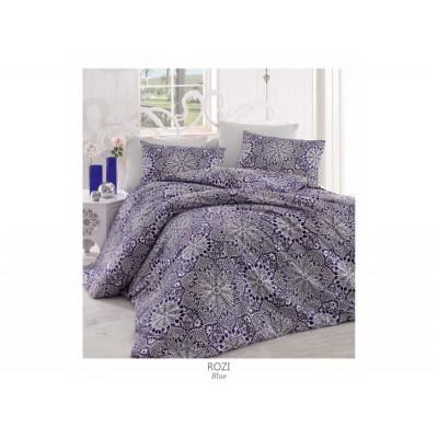 Комплект постельный полуторный Arya ранфорс Rozi голубой