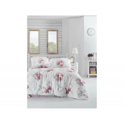 Комплект постельный полуторный Arya ранфорс Zaira розовый