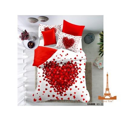 Постельное белье Love You евро Полисатин 3D 31