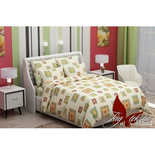 Комплект постельный полуторный ранфорс TAG RC13852 red
