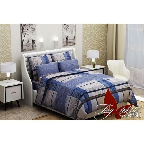 Комплект постельный полуторный ранфорс TAG RC6941 син