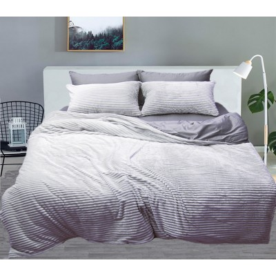 Комплект постельного белья TAG Сатин Люкс зима-летоGrey Двуспальный
