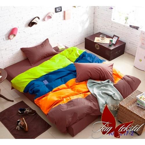 Поплиновое постельное белье полуторное TAG Colormix APT-017-2