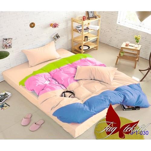 Поплиновое постельное белье полуторное TAG Colormix APT-030