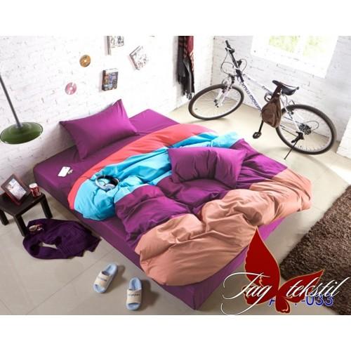 Поплиновое постельное белье полуторное TAG Colormix APT-033