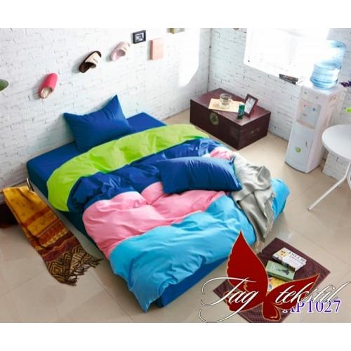 Поплиновое постельное белье полуторное TAG Colormix APT-027
