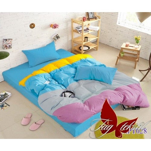 Поплиновое постельное белье полуторное TAG Colormix APT-028
