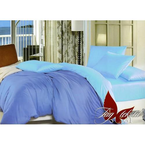 Комплект постельного белья поплин полуторное TAG S 6031 голубой