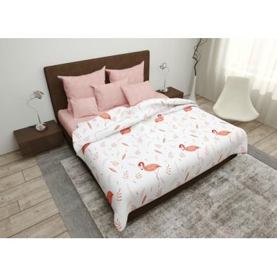Постельный комплект Комфорт текстиль евро ранфорс Фламинго