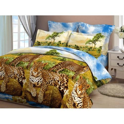Комплект постельный полуторный Леопарды