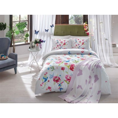 Набор постельного белья TAC Ранфорс + плед вязанный Triko - Goldy lila v1 лиловый Евро