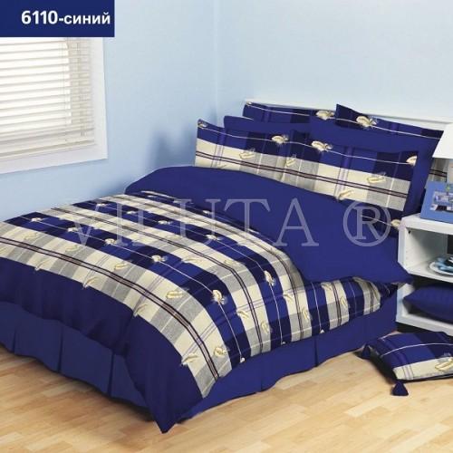 Постельное белье полуторное ранфорс Viluta 6110-синий